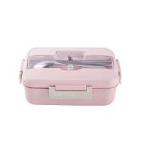 饭盒便当盒微波炉小麦秸秆密封塑料学生食堂简约日式分格保鲜餐盒 1000毫升 粉色