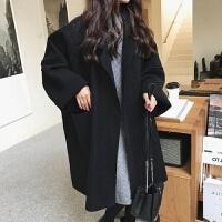 秋冬款宽松oversize廓形毛呢外套女韩版中长款大码茧型呢子大衣