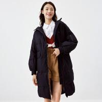 伊芙丽2020新款连帽宽松韩版羽绒服中长款显瘦外套女1AC989301