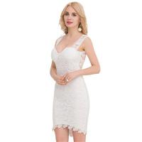 欧美女装手工刺绣蕾丝花朵连衣裙修身低胸包臀短裙欧洲站大码女装
