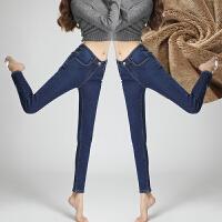 【下单立减120,仅限今日】加绒加厚2018新款牛仔裤女高腰紧身小脚裤加厚弹力保暖裤