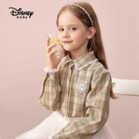 9.25超品返场【2.5折预估价:80.7元】迪士尼女童花边领秋装长袖衬衫儿童格纹上衣甜美