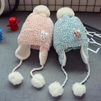 新款秋冬儿童宝宝毛线帽子2男童毛球护耳帽潮女童加绒套头帽1-3岁