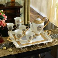 陶瓷咖啡具咖啡杯套装欧式家用简约茶具英式下午茶杯具整套带托盘 8件