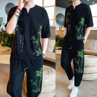 中国风套装男2019新款复古休闲青年棉麻刺绣大码短袖T两件套夏装