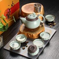 尚帝 汝窑功夫茶具 天青汝窑 茶具礼盒装XMBH2014-149A1