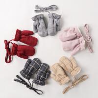 儿童手套冬季宝宝绒厚款保暖手套男孩女孩挂绳手套
