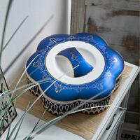 欧式客厅水果盘干果盘多分格带盖陶瓷过年瓜子花生糖果盒创意家用