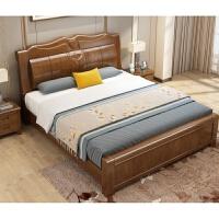 中式实木床1.5米新中式双人床高箱储物1.8米高箱抽屉婚床卧室家具 +床头柜*2