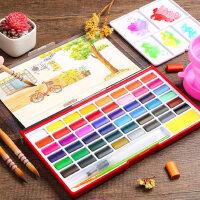 固体水彩颜料学生用美术专业水彩工具套装初学者绘画便携分装水彩颜料儿童健康手绘可水洗36色水粉颜料铁盒装