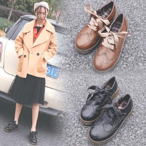 女式 秋冬新款布洛克女鞋圆头系带小皮鞋英伦风平底复古单鞋女