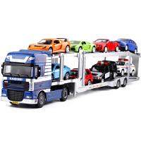 轿运车挂车儿童玩具汽车模型汽车双层运输车全合金工程车