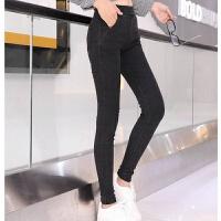 春季仿牛仔打底裤外穿弹力小脚裤紧身铅笔裤黑色女裤子 S 建议80-90斤