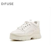 【领券减100】DFUSE/迪芙斯2019秋季新款字母带拼色坡跟老爹鞋女DF93112330