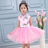 六一儿童演出服夏幼儿园园服男女童大合唱表演服爵士舞蹈服装 女童古装粉色 100码建议身高90左右