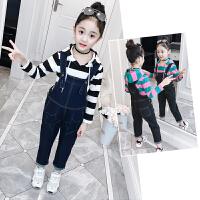 女童童装2018新款秋装套装儿童潮衣时髦背带裤两件套女孩春秋衣服