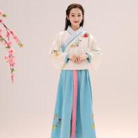 儿童汉服女童古装民族风古代古筝舞蹈演出服装小女孩唐装套装冬装