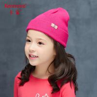 卡蒙6-9岁儿童双层毛线帽可爱女宝宝冬季保暖帽子男孩时尚针织帽4652
