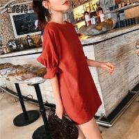 七格格上衣洋气短袖女2019新款夏装韩版宽松中长款半袖气质小衬衫