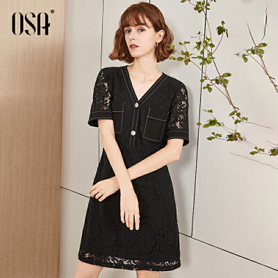 【2件5折】OSA欧莎黑色蕾丝连衣裙2019新款夏收腰显瘦气质v领裙子女高端流行