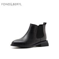 菲伯丽尔2019秋冬新款女铆钉粗跟切尔西靴气质简约女靴FB94116076
