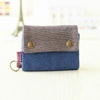 韩版简约短款男女通用帆布钱包多功能布卡包迷你布艺零钱包钥匙包