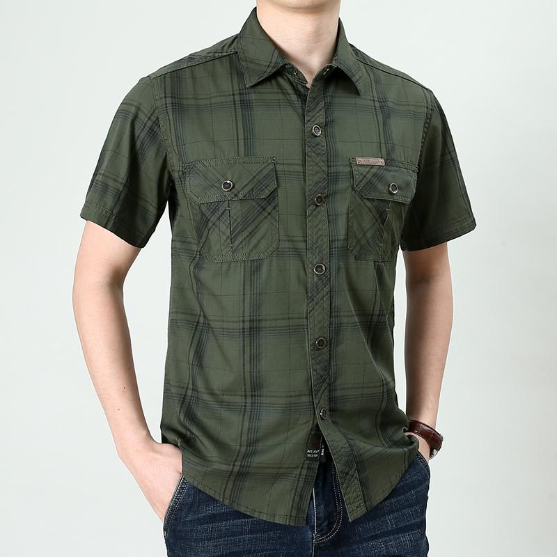 短袖衬衫男大码上衣宽松寸衫商务休闲格子衬衣夏季薄款涂 军绿 格子主图