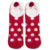女袜子地板袜秋冬加厚珊瑚绒半边绒睡眠袜中筒可爱毛巾袜圣诞礼盒 深蓝色 波点小狗 35-40均码,满4双