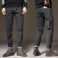 牛仔裤男秋季常规款黑色直筒弹力裤子修身韩版男士百搭休闲长裤潮