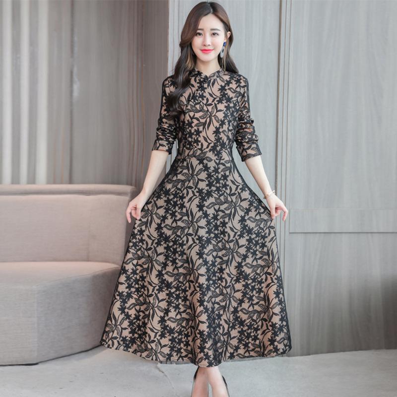 内衣塑身美体2019新款女装春装民国风唐装春打底长款优雅蕾丝改良旗袍式连衣裙