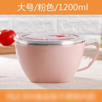 不锈钢泡面碗家用吃饭碗带盖方便面碗学生饭盒汤碗餐具用餐工具
