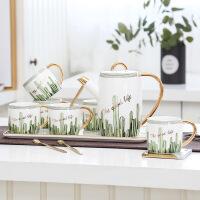 欧式咖啡杯具描金茶具水具杯具家用杯子水杯茶杯套装带礼盒装 8件