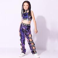 儿童爵士服装女童嘻哈现代亮片舞蹈表演服装少女练功服