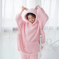 冬季睡衣女珊瑚绒甜美可爱熊耳朵加厚保暖韩版清新学生法兰绒套装 粉色 收藏加购送限量袜