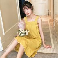 睡衣女夏季纯棉性感吊带睡裙薄款夏天韩版可爱学生公主风裙子宽松
