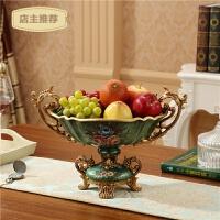 家用水果盘欧式果盘客厅现代时尚创意复古宫廷水果碗干果盘SN0084 墨绿色 双耳大果盘拉丝绿
