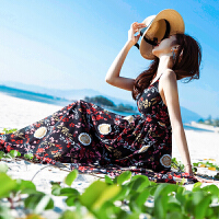 时尚品牌沙滩长裙女夏2019新款海边度假显瘦吊带连衣裙超仙裙子SN6490 黑色