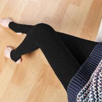 秋冬季保暖打底裤女外穿高腰踩脚大码竖条纹加绒加厚显瘦薄款长裤