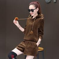 新款休闲时尚加厚金丝绒卫衣洋气时髦靴裤短裤套装女秋冬季两件套