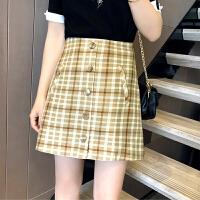 格子半身裙女春季新款韩版高腰A字裙复古显瘦chic格纹短裙