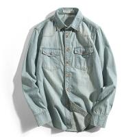 春秋新款长袖男士牛仔衬衫休闲复古外套清新全衬衣休闲潮流寸衣涂