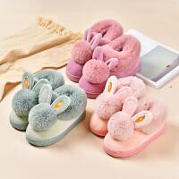 可爱亲子棉拖鞋包跟儿童毛毛保暖室内居家居棉鞋冬季