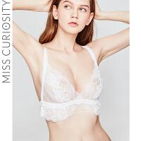 好奇蜜斯薄款bralette蕾丝刺绣花朵内衣美背性感舒适三角杯文胸女