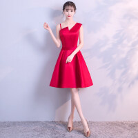 敬酒服新娘2018新款夏季结婚长款红色订婚晚礼服连衣裙显瘦女回门
