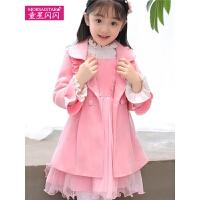 儿童呢子大衣2018新款公主洋气外套套装中大童呢大衣冬季女孩