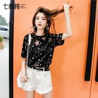 七格格黑色t恤女短袖2019新款夏装韩版宽松镂空设计感心机上衣潮