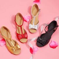 舞蹈鞋女童拉丁舞鞋初学者儿童女孩少儿蝴蝶结中跟软底