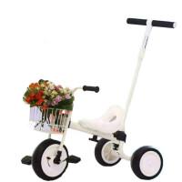 三轮车脚踏车男女宝宝自行车无印简约推杆手推童车1-5岁 白色 白色+框