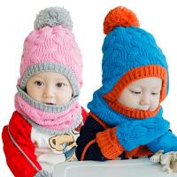 韩国KK树秋冬6-12个月婴儿帽子围巾手套三件套一体1-2岁宝宝帽子