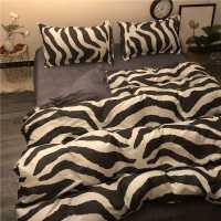 北欧简约黑色豹纹斑马纹四件套床上用品1.5m1.8米被套床单耐脏ins